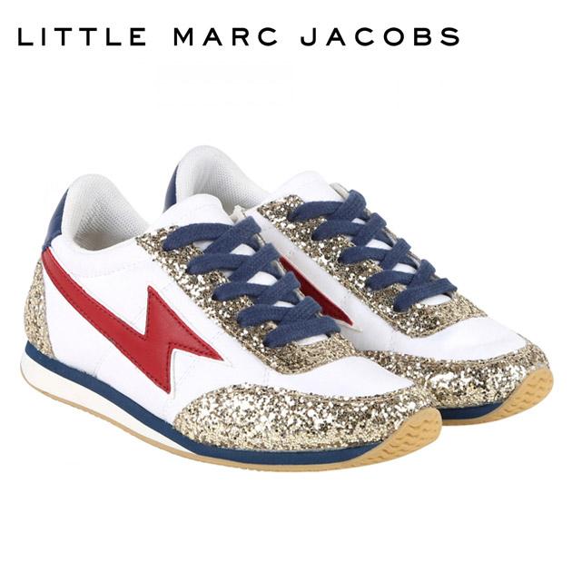 【4歳/5歳/6歳】【NewYearSALE 50%OFF】≪Little Marc Jacobs≫ リトル・マーク・ジェイコブスゴールドラメ スニーカー ホワイト シューズ 靴 Sneakers Goldenベビー/キッズ/女の子/男の子