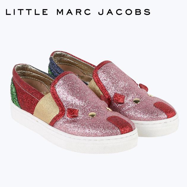 【4歳/5歳/6歳】人気ブランドのキッズライン!≪Little Marc Jacobs≫ リトル・マーク・ジェイコブスピンク ラメ スリッポン スニーカー シューズ 靴 Trainers Multicolouredベビー/キッズ/男の子