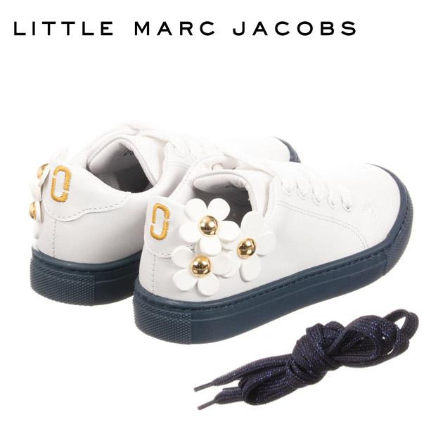 【3歳/4歳/5歳】2019 新作 人気ブランドのキッズライン!≪Little Marc Jacobs≫ リトル・マーク・ジェイコブス花モチーフ付き ホワイト×ネイビー レザー スニーカー シューズ 靴 Leather Trainers (White)ベビー/キッズ/女の子
