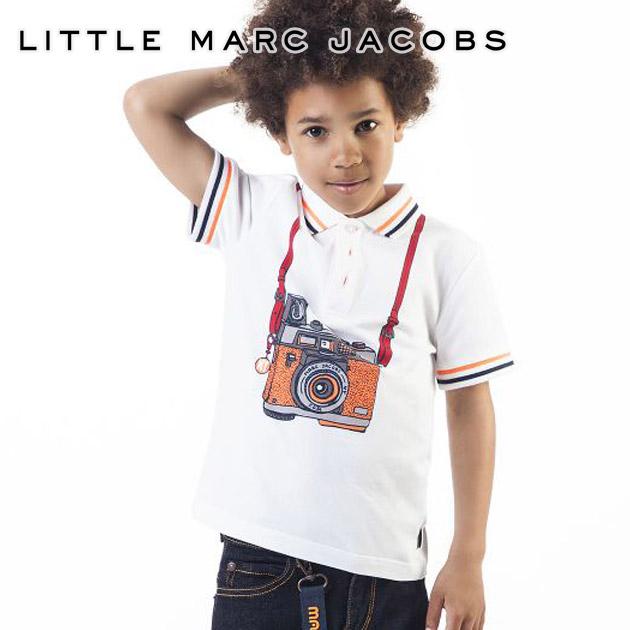 【6歳/7歳/8歳/9歳】2019 新作 人気ブランドのキッズライン!≪Little Marc Jacobs≫ リトル・マーク・ジェイコブスカメラ プリント 半袖 ポロシャツ ホワイト トップス POLO SHIRTキッズ/男の子