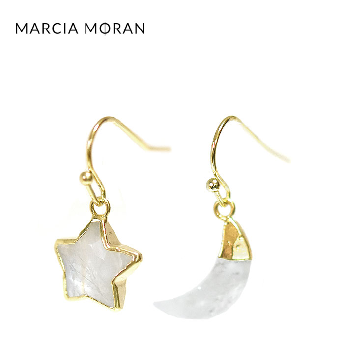 【待望の最新作】≪Marcia Moran≫ マルシア・モラン 月 星 ムーン スター ムーンストーン ゴールド フック ピアス Intel Earrings (Gold)【レディース】