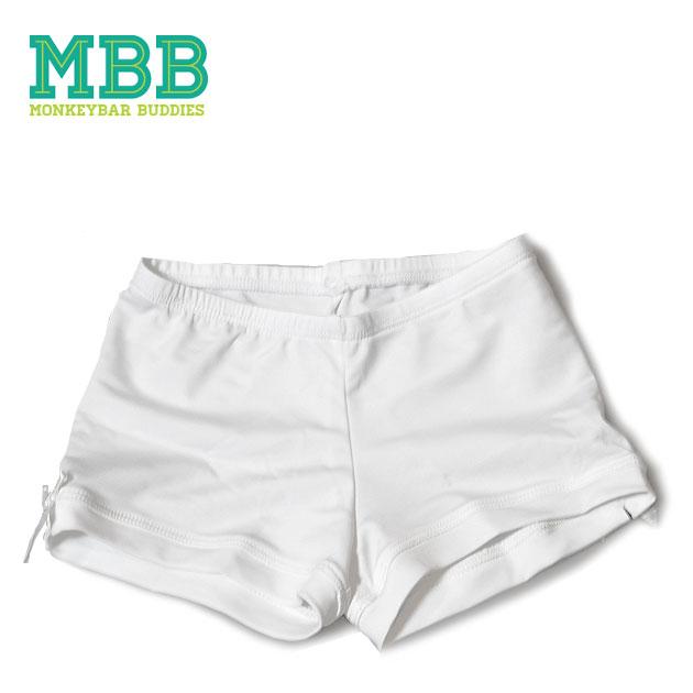 おトク スカートの下に履いて思いっきり遊べる 3歳 ≪Monkeybar Buddies≫ モンキーバー ブディーズショート丈 パンツ White Shorts キッズ スパッツ ※ラッピング ※ ホワイト