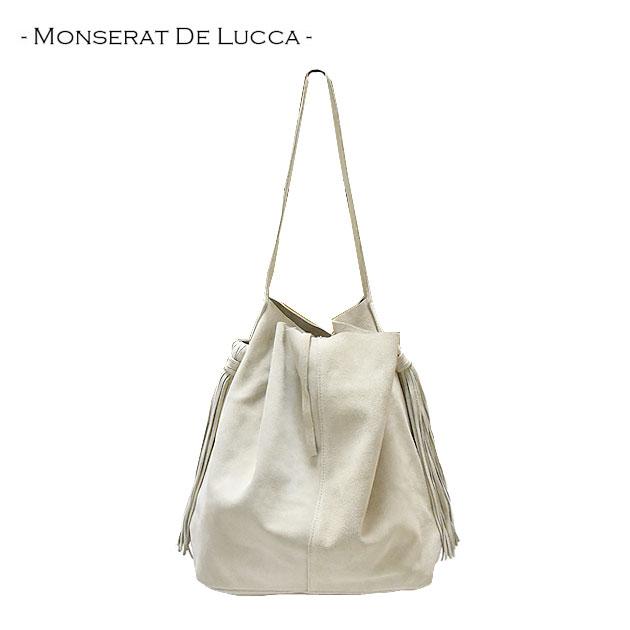 ≪MONSERAT DE LUCCA≫ モンセラット・デ・ルカ本革レザー スエード アイボリー ライトベージュ インバッグポーチ付き タッセル トートバッグ Learther Bag (Cream)【レディース】