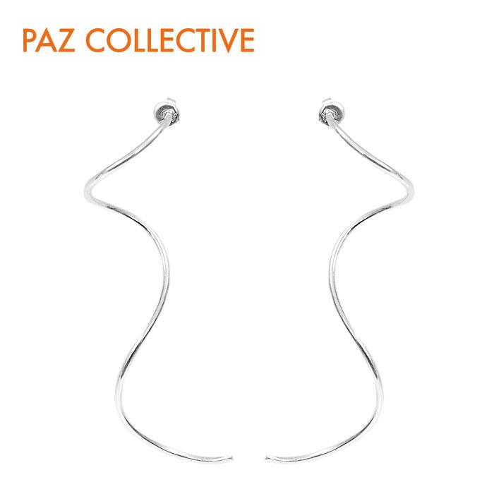 【GISELe 雑誌掲載】【再入荷】【ピアス全品10%OFF】≪PAZ COLLECTIVE≫ パズ コレクティブウェービーライン ウェーブ カーブ スタッズ ピアス シルバー Swirls Earrings (Silver)【レディース】