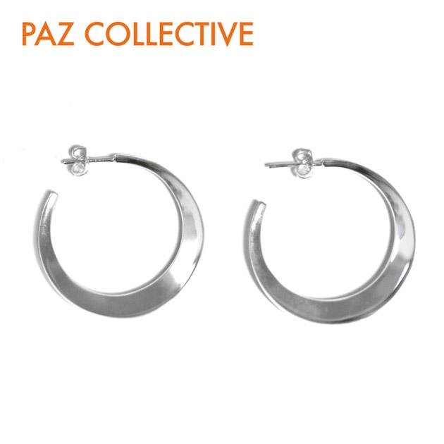 【待望の最新作】【STORY 雑誌掲載】≪PAZ COLLECTIVE≫ パズ コレクティブシェイプ フープ ピアス シルバー Comma Hoops Shiny Earrings (Silver)【レディース】