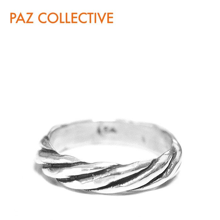 【待望の最新作】≪PAZ COLLECTIVE≫ パズ コレクティブヴィンテージ加工 ねじれ ロープ シルバー リング Ring (Silver)【レディース】