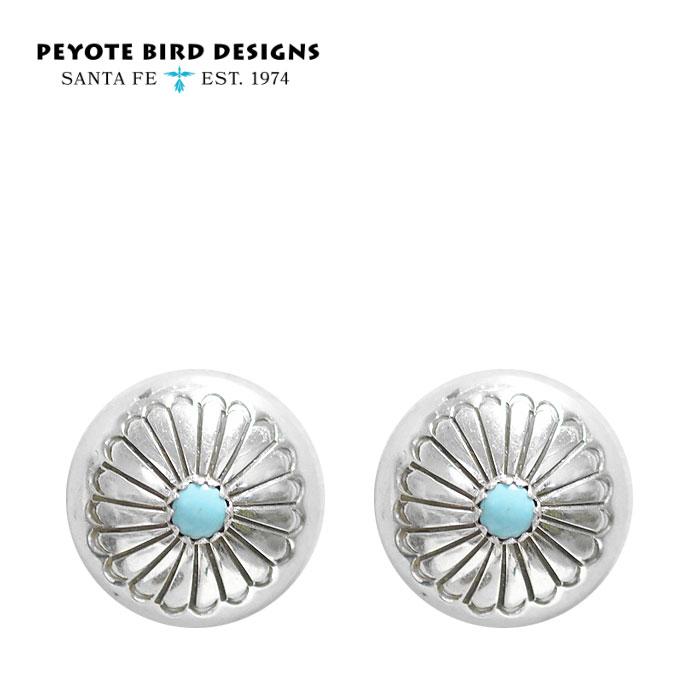 【待望の最新作】≪PEYOTE BIRD DESIGNS≫ ペヨテバード・デザインターコイズ シルバー コンチョ フラワーモチーフ スタッズ ピアス SV925 Turquoise Earrings (Silver)【レディース】