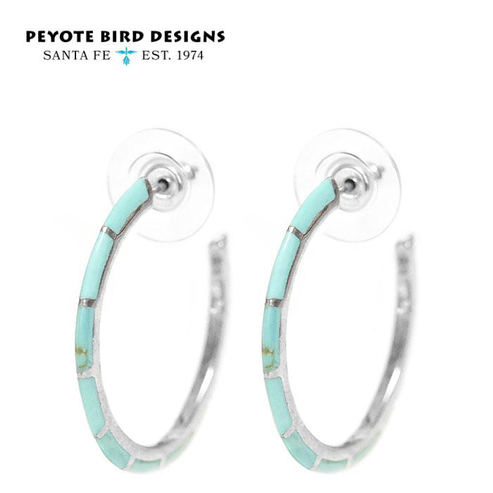 【待望の最新作】≪PEYOTE BIRD DESIGNS≫ ペヨテバード・デザイン天然石 ターコイズ ライン サークル ラウンド シルバー フープ ピアス SV925 Turquoise Earrings (Silver)【レディース】
