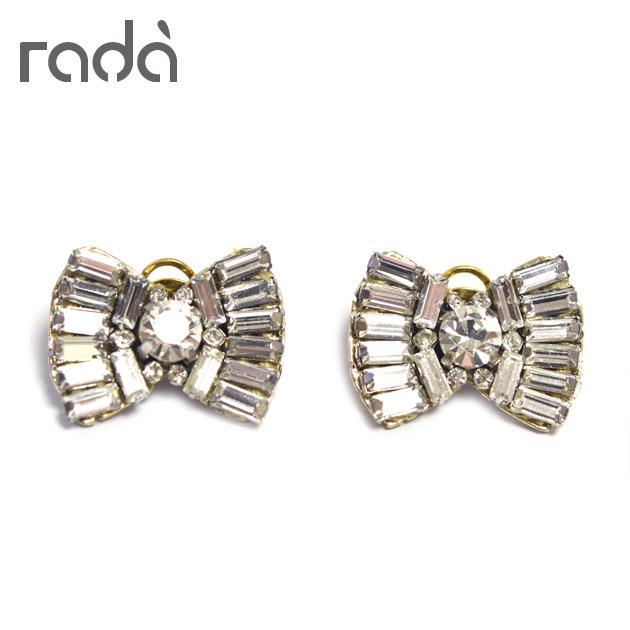 【待望の最新作】≪rada≫ ラダリボン モチーフ クリスタル ビジュー イヤークリップ イヤリング ゴールド ヴィンテージ アンティーク Crystal Glass Beaded Earrings (Gold)【レディース】