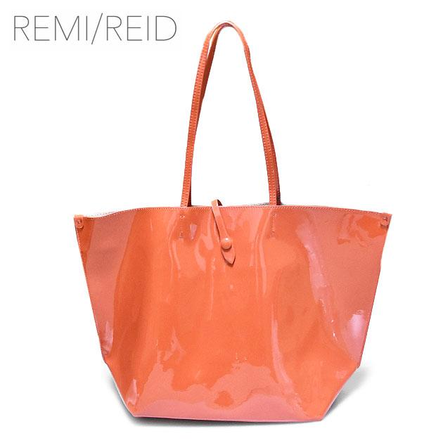 ≪REMI/REID≫ レミアンドレイドオレンジ エナメル パテント ラウンド ポーチ付き トートバッグ Sobriquet Tote Patent Bag (Persimmon Orange)【レディース】