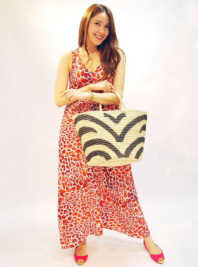 «SENSI STUDIO» Sensi Studio Bohemian natural material straw Zebra print basket bag Maxi tote woven straw hand painted zebra (Zebra)