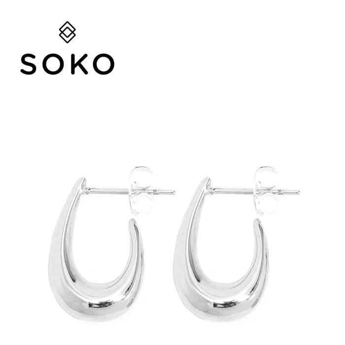 【予約販売 2月入荷】【最安値に挑戦】≪SOKO≫ ソコサークル シルバー スタッズ フープ ピアス Mezi Mini Hoop Earrings (Silver)【レディース】