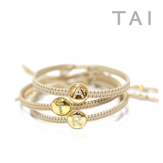 Tai Thailand Cz Cubic Zirconia Initials Code Bracelet Initial Cord Gold