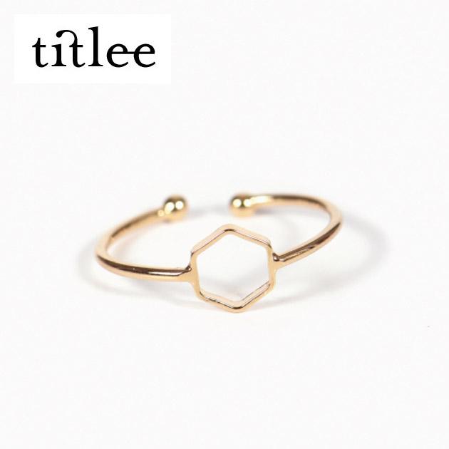 ≪titlee≫ ティトリーゴールド 六角形 モチーフ C型 リング Mayfair Ring (Gold)【レディース】