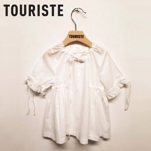 【NewYearSALE 50%OFF】≪TOURISTE≫ トゥリステシャーリング 半袖 ブラウス シャツ ホワイト トップス CURLED BLOUSE WHITE【2歳/3歳/4歳/5歳/6歳】【ベビー/キッズ/女の子】