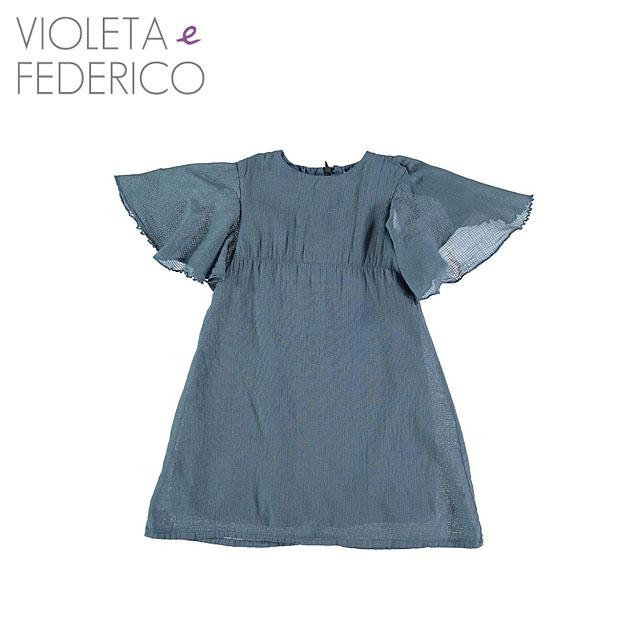 ≪Violeta e Federico≫ ヴィオレタ・エ・フェデリコ無地 ワンピース ブルーDRESS Capa Quad Paja(Blue)【3歳/4歳/5歳/6歳】【ベビー/キッズ/女の子】