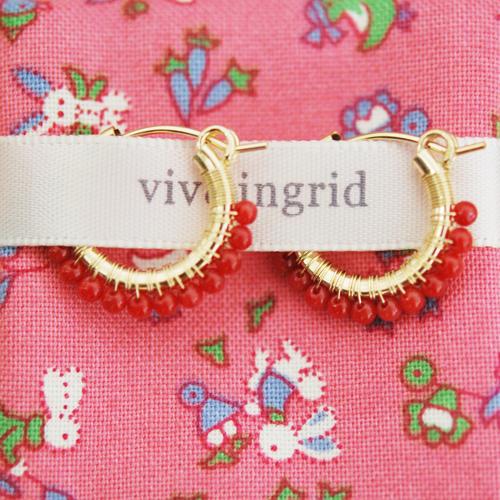 【再入荷】【ピアス全品10%OFF】≪viv&ingrid≫ ヴィヴ&イングリッドレッドコーラル 珊瑚 サンゴ ラップ フープ ピアス Sサイズ Wrap Hoop Earrings Small (Red Coral)【レディース】
