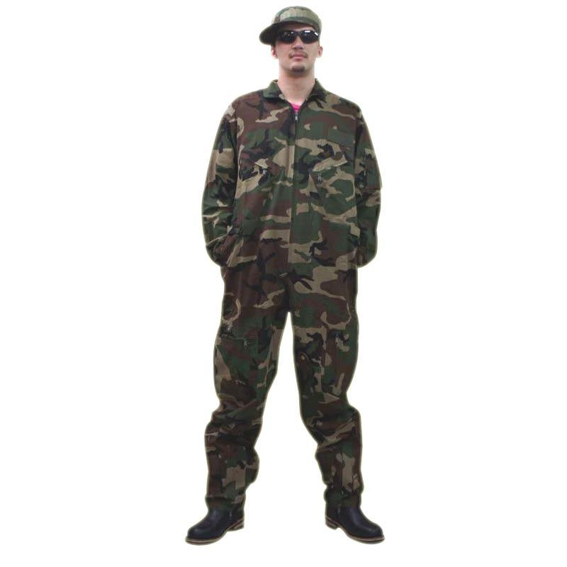 つなぎ服オールインワン 迷彩ウッドランド エアーフォース仕様ロスコ 迷彩フライトスーツ 空軍作業服のレプリカ仕様